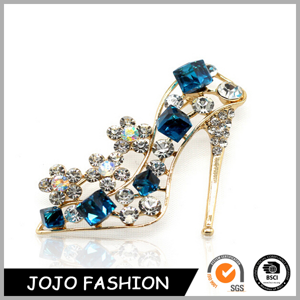 Wholesale Promotional Gift Woman High-heel shoes Crystal Custom Lapel Badge Pin