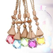 Liquid hanging car air perfume air freshener with glass bottle wooden cap