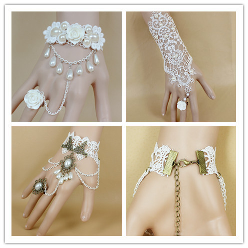 White lace rose flower with pearl hand harness bracelet bridal bracelet ,Lily