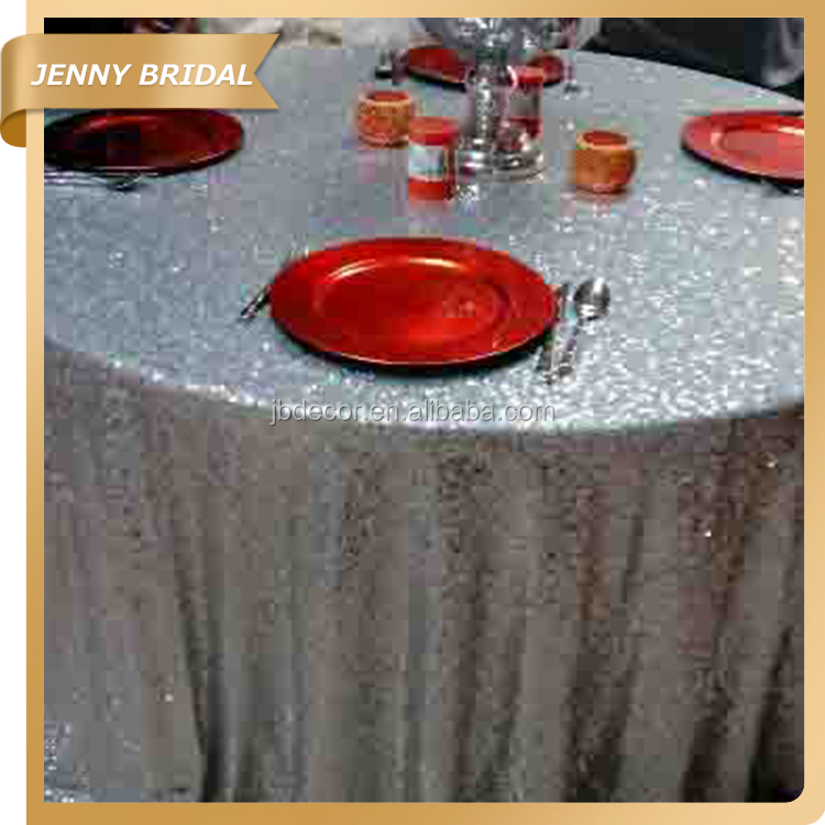 Round knitted silver glitter wedding decoration table cloth