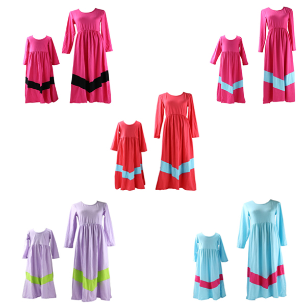 Wholesale mommy and me maxi dress design latest family matching clothing long spring dresses