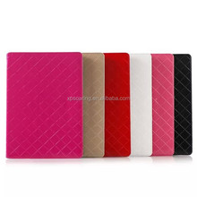 wallet leather case for ipad air 2 lattice design, PU pouch bag for ipad air 2, stand case for ipad 6