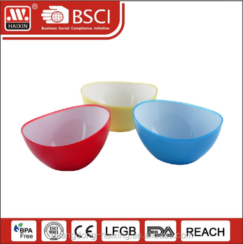 haixing wholesale food grade disposal reusable double color plastic salad bowls container with full tone color for tableware