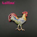 Rhinestone Large Red Rooster Fighting Cock Chicken Brooch Pin Multicolor Enameled Clear Crystal Animal Jewelry