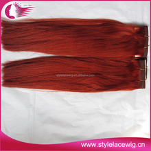 Wholesale price high quality red color human hair weaving
