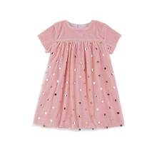 Wholesale Kids Girl Clothing Golden Dots Tulle Boutique Tutu Pink Dress