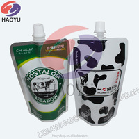 Plastic pouch bags,Stand up printing plastic bags with spout,milk drink food grade poly bag