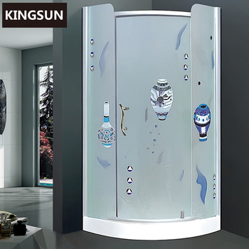 China Suppliers Bathroom Equipments Aluminum Curved Glass Cheap Freestanding Round Shower Enclosure K-7800