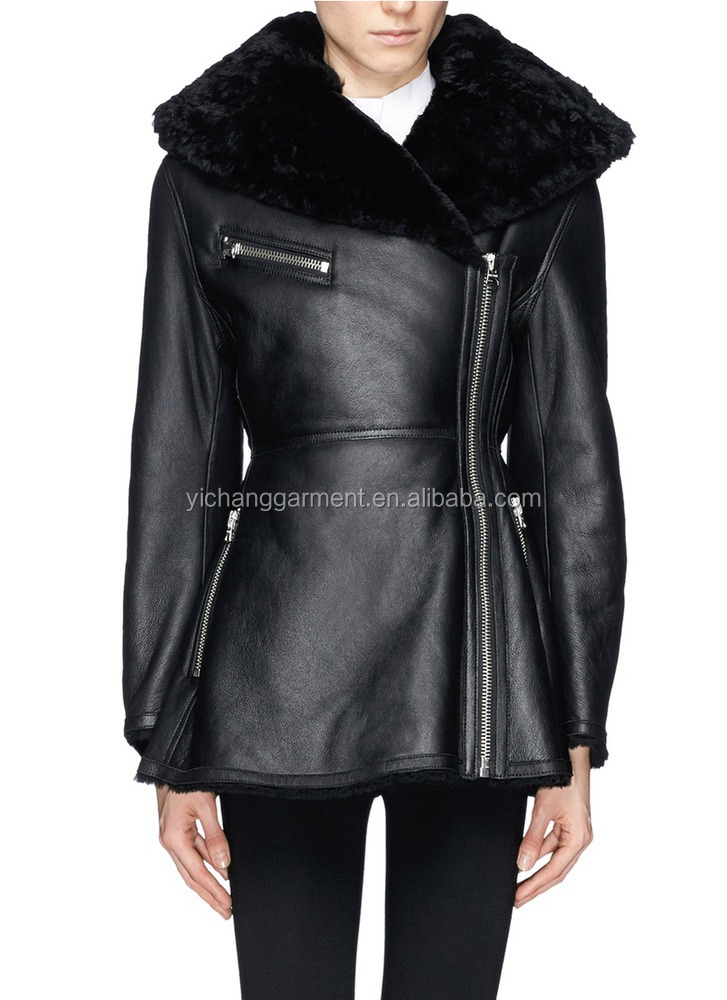 women winter black lamb shearling leather coat