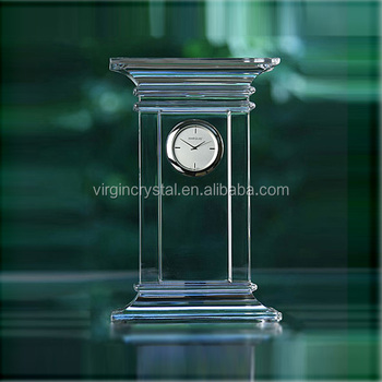 Monument shape blank crystal table clock memorial souvenir gift