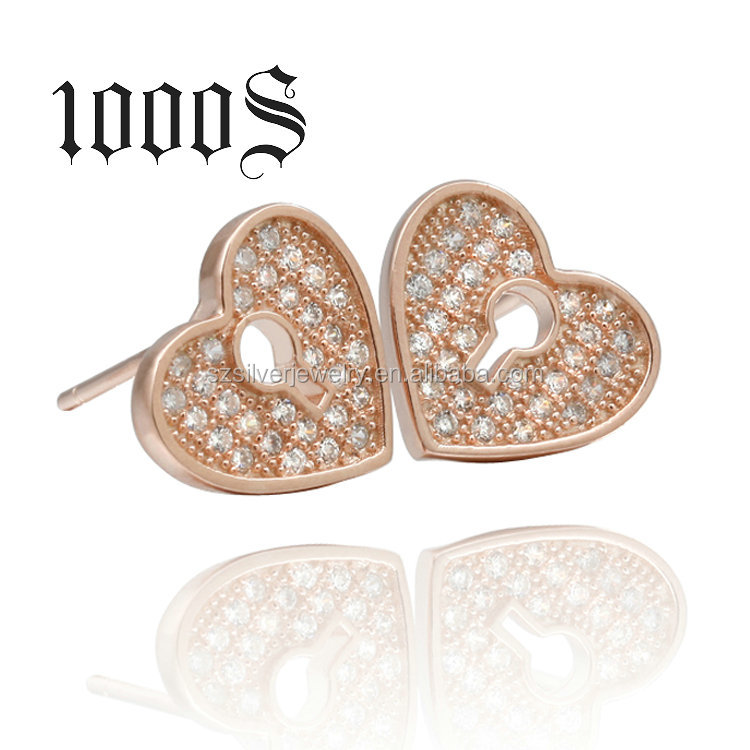 ShenZhen Factory Wholesale Rose Gold Heart Earrings,Golden Earring Designs For Women