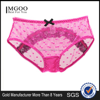 MGOO High Quality Stock Candy Color Transparent Dot Brief For Women See Through Women Panties Bow Brief MBB050