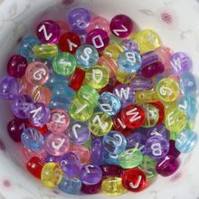 4x7MM Acrylic Transparent Mixed Alphabet Letter Coin Round Flat Spacer Beads