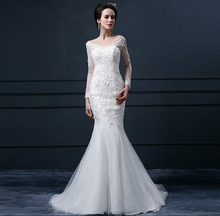 OEM Custom Made 2016 Real Photo Mermaid Long Sleeve V Neck Backless Lace Bridal Wedding Dresses