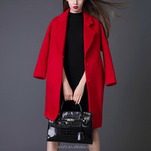 Latest burqa designs pictures suit collar plus size fashionable Red color wool overcoat for women chinchilla fur coat