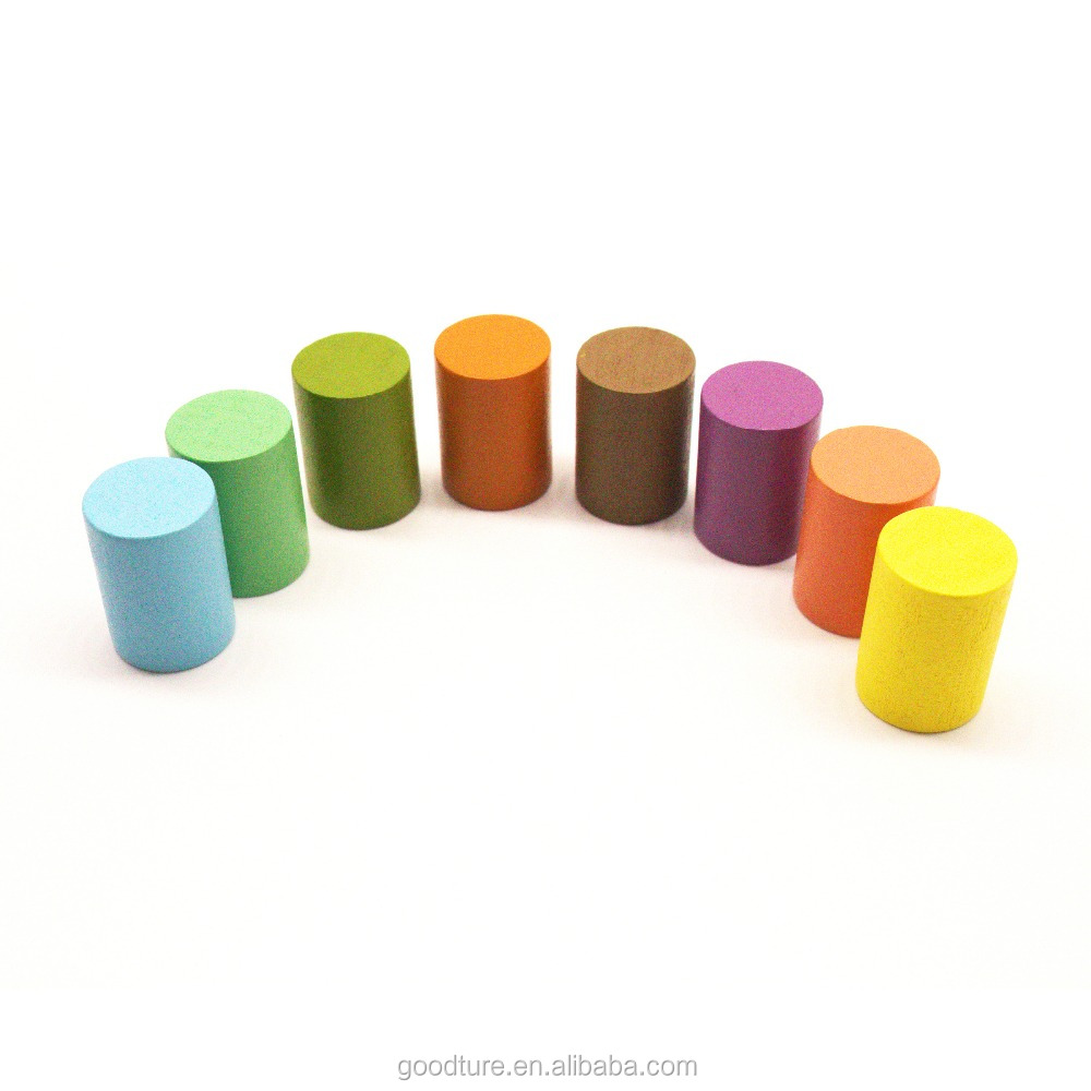 Colorful Wooden Cylinder High Quality Game Pawn Board Game Tokens