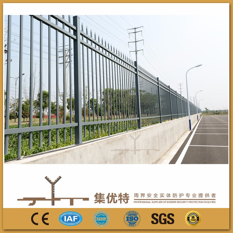 Galvanized powder coated steel decorative wrought iron fence