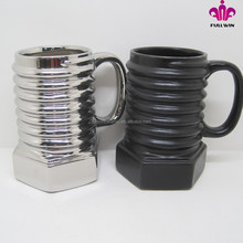 Silver electroplated color and matt black color ceramic mug,ceramic beer mugs with screw you word at the bottom