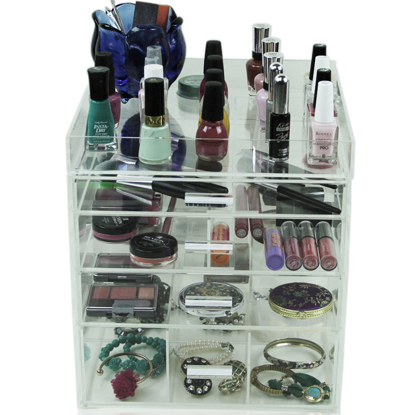 Acrylic Comestic Cube Box Case, Lucite Makeup Storage Organizer, Perspex Display Holder Stand for Nailpolish, Jewelry and Brush