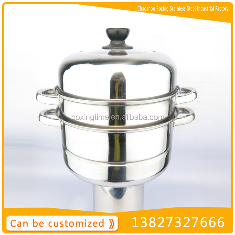 2-layer stainless steel gas food steamer dim sum steamer