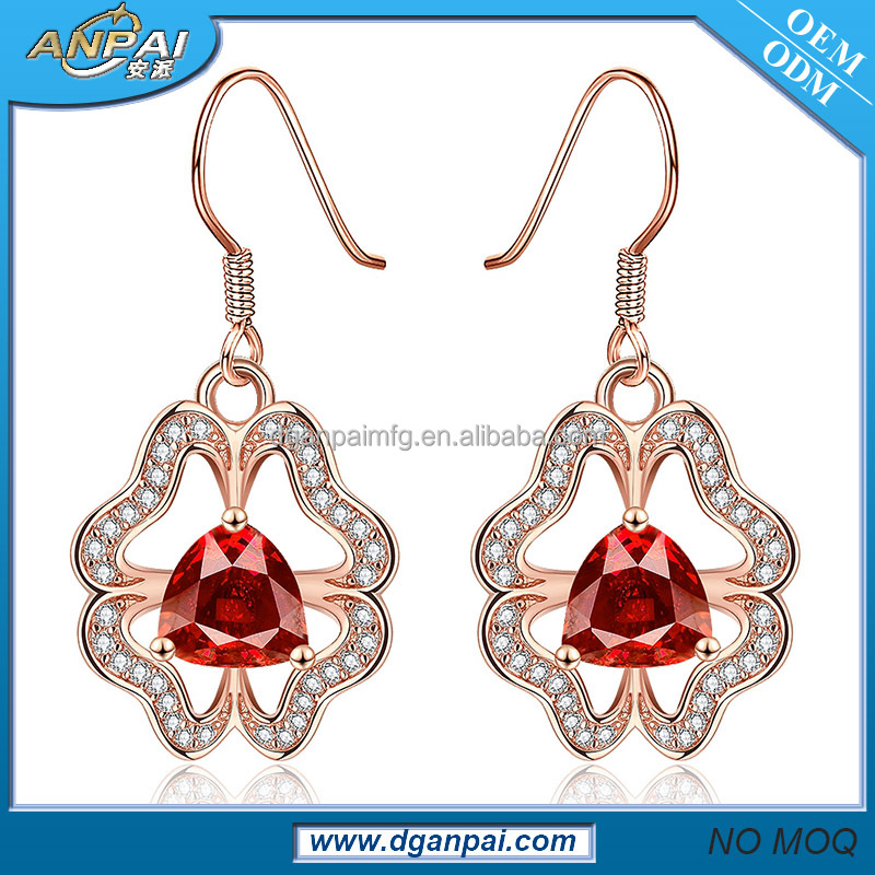 generous fashion Rose gold pussy stud earrings 2012 new design micro pave earring findings wholesale