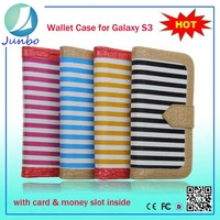New Stylish leather wallet 2 in 1 mobile phone case for samsung galaxy s3