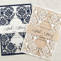 Hollow Laser Cut Pink Wedding Invitation Floral With Belly Band