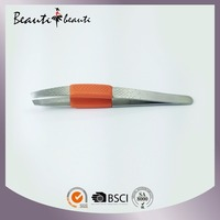 Hot Sales High Quality Professional Debossed Slant Tweezers with Rubber Finger Tipped by ISO & SA8000 factory