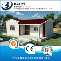 The factory of modular house with slanted roof corrugated steel sheet