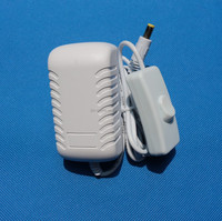 white color EU plug 12V 300mA power supply adapter with on/off switch