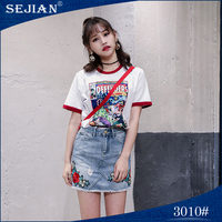 Hip Length Lady Graphic Two Pockets Mini Skirts Jeans For Women