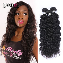 7A Indian Human Weave Bundles Water Wave 100% Unprocessed Indian Virgin Hair Wet and Wavy Curly Natural Black Color Can be Dyed