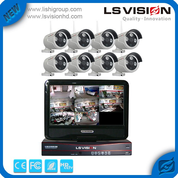 LS VISION 5.8ghz Wireless Kits China Wireless CCTV NVR Kits LCD Monitor 8 Channel System With HD LCD
