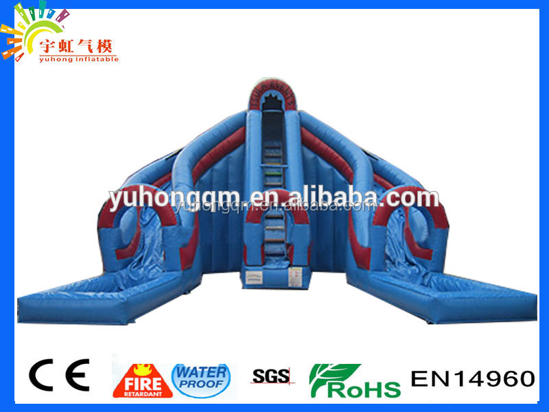 Dual slide and climb tarpaulin giant Hippo inflatable water slides with pool