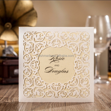 2017 luxury laser cut pocket wedding invitation card customized with RSVP card CW6080