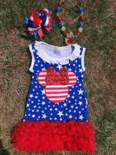2015 hot SELL blue & white star with red ruffle dress 4th of July baby girl dress with matching necklace and bow