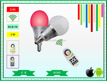 2015 Mi.Light Hot sell 5w E14 wifi RGBW led bulb lighting for home lighting 2 years guarantee