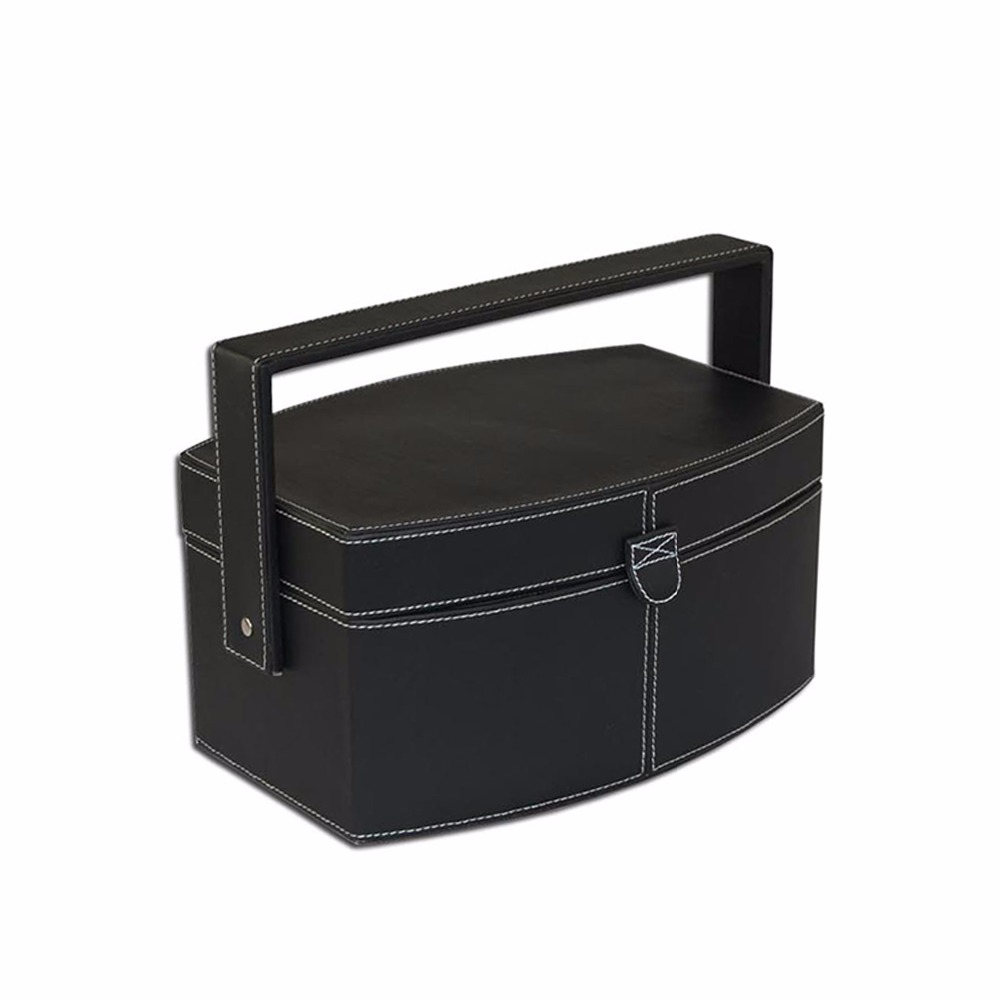 Fashionable portable leather sewing box in dividers with handle