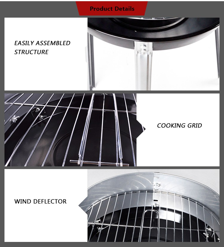 Hotlink KY23015F Portable Simple Charcoal Grill With Wind Deflector