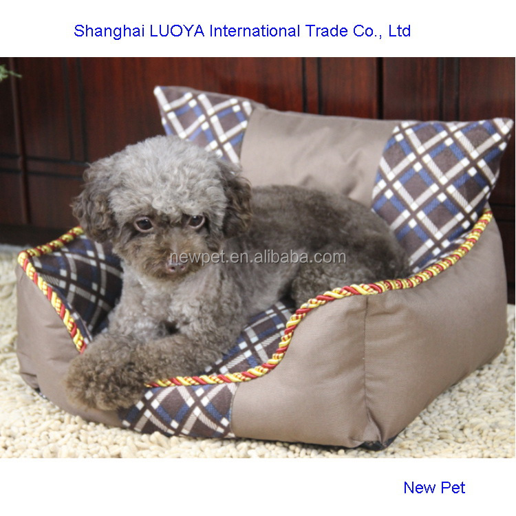 China-made new fashion monoclinic lattice bed pet dog house for 2 dogs with back