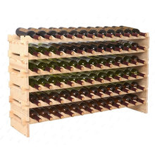 factory customized 72 bottles stackable pine timber wine rack, wine shelf, wine bottle holder wood