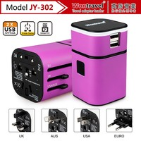 JY-302 colorful portable dual usb universal charger for mobile charger/ android tablet pc/Smart phone/MP3