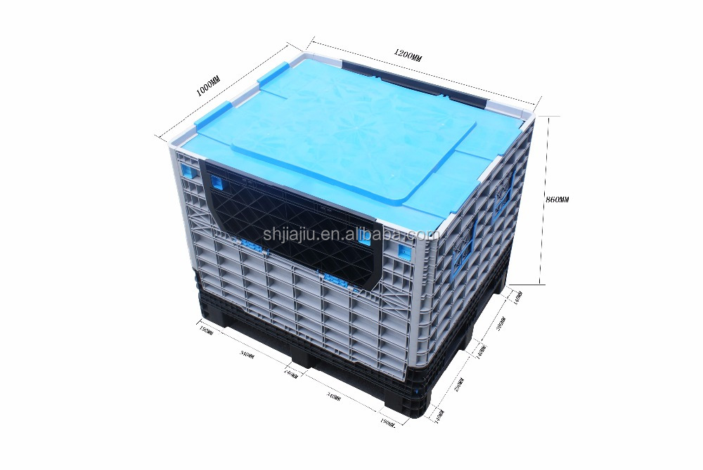 1200x1000x975mm Plastic Industrial Collapsible Pallet Box For Auto