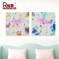 ROOGO wholesale resin new design handmade elegant and rural wind 3D flamingo animal home decor art craft woodblock wall hanging