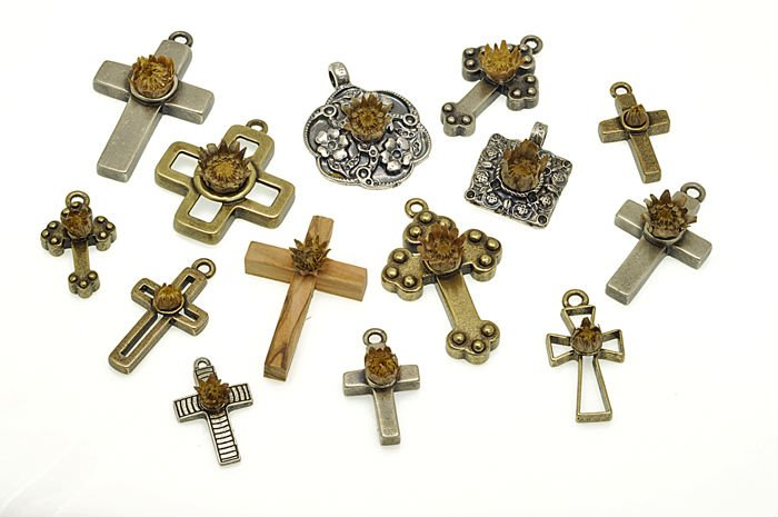 HOLY LAND BLESSED ROSE OF JERICHO CROSSES AND PENDANTS
