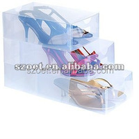 Clear plastic PP shoe stackable storage drawer box