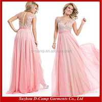 OC-2445 Beautiful sheer back cap sleeve women formal night gown evening prom dress party dress full length