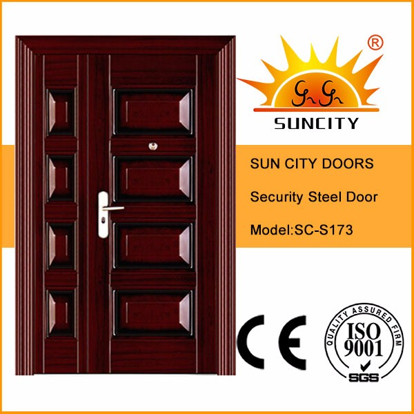 SC-S173 Modern Iron Metal Security Steel Exterior Door, Indian Main Safety Door Design with Grill