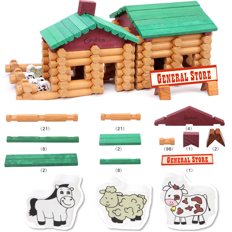 170pcs/set Solid Wood Farm Log Set Models Building Toy Educational Wooden Learning Blocks Toys for Kids
