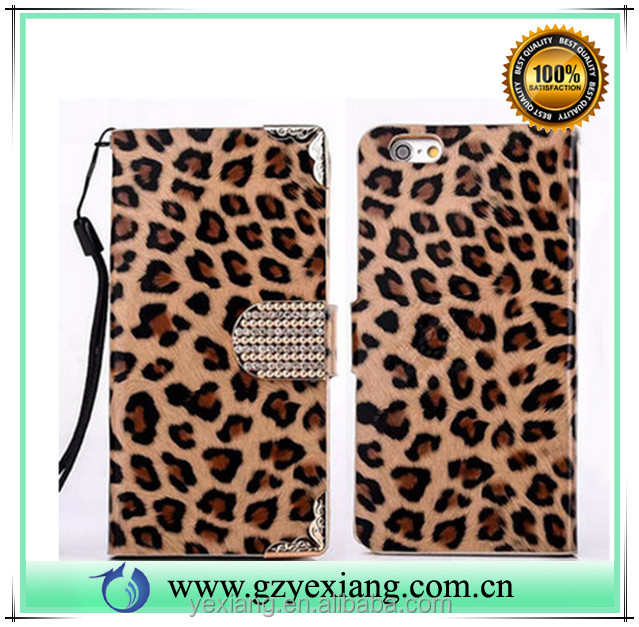 Phone accessories leopard pattern wallet flip cover case for Samsung galaxy s7 edge pu leather stand case with card slot